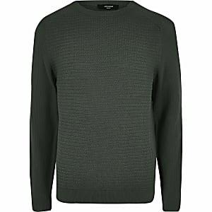 Jack and Jones - Groene gebreide pullover