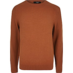 Jack and Jones - Oranje gebreide pullover