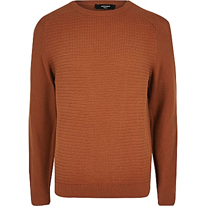 Jack and Jones orange knitted jumper