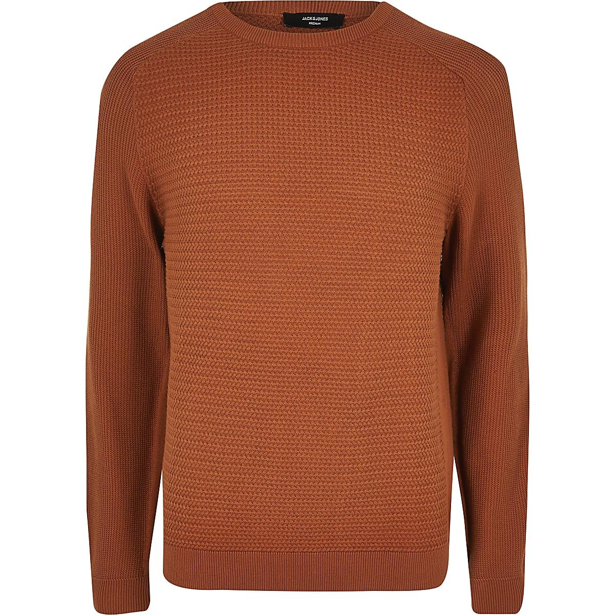 Jack and Jones orange knitted jumper