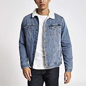 Jack and Jones - blaue Jeansjacke mit Borg-Kragen