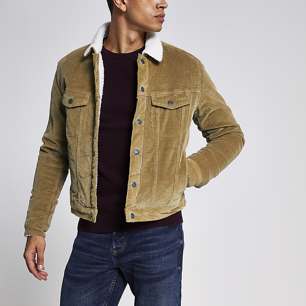 Jack and Jones steingraue Cordjacke mit Borg-Kragen