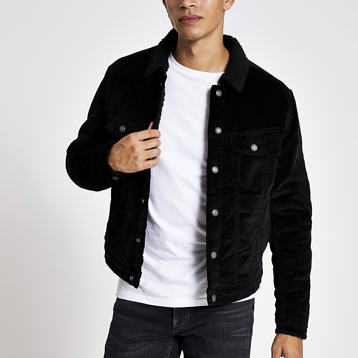 Jack and Jones black borg collar cord jacket