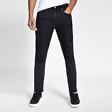 Black patchwork Dylan slim stretch jeans