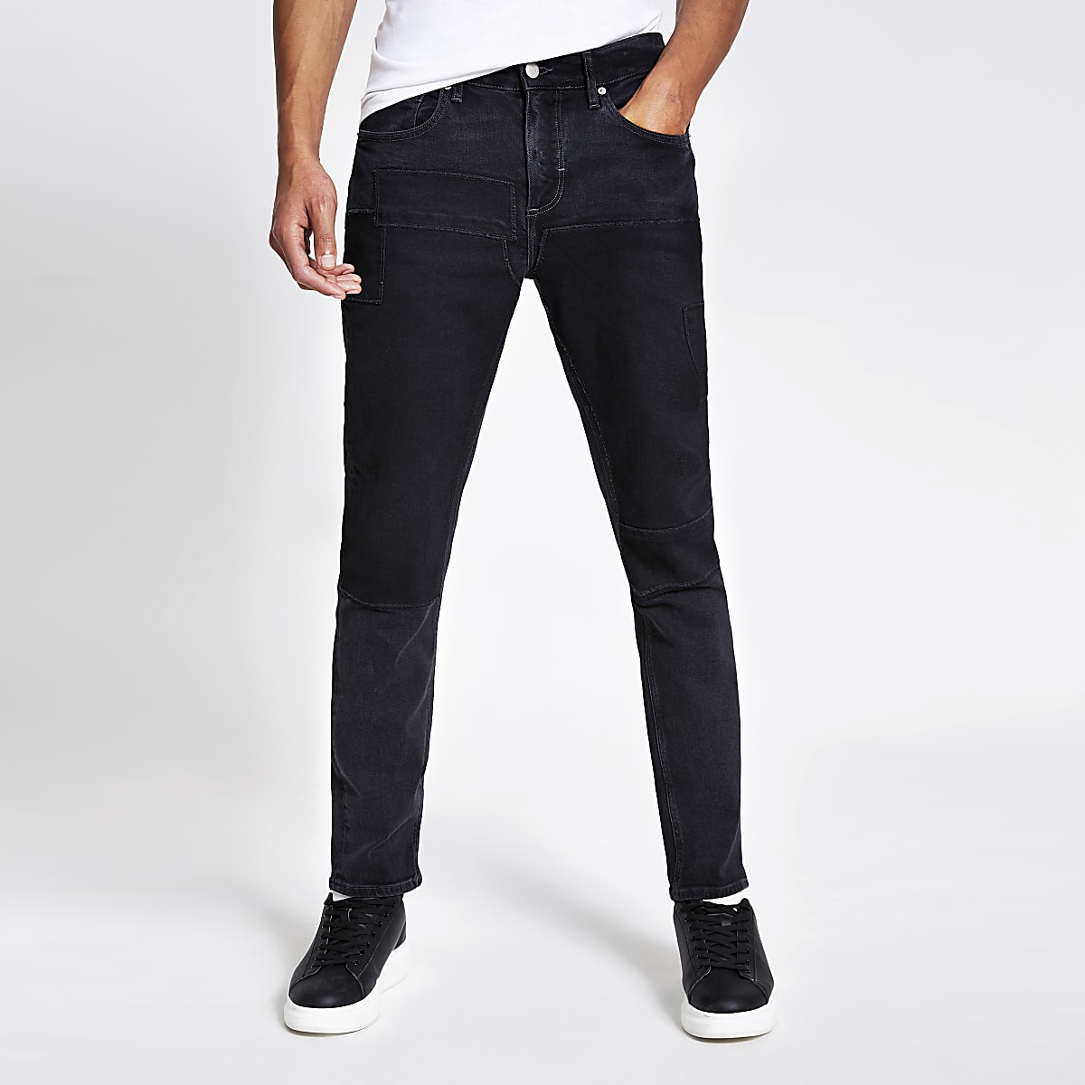 Dylan - Jean slim stretch patchwork noir