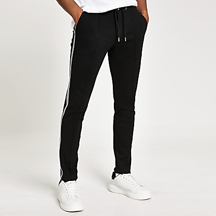 Black taped super skinny smart jogger