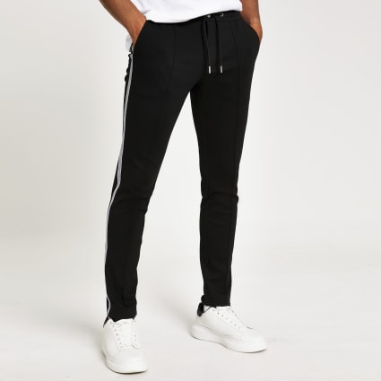 Black super skinny smart jogger trousers