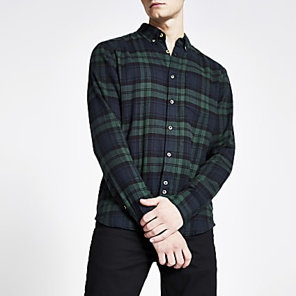 Bellfield navy check brushed shirt