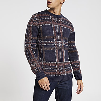 Bellfield navy check brushed knitted jumper