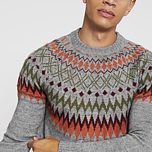 Bellfield - Grijze gebreide jacquard pullover