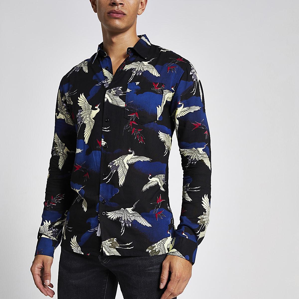 Bellfield - Overhemd met vogelprint en lange mouwen