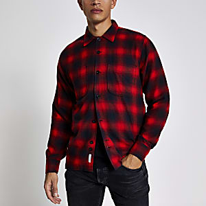 Bellfield – Langärmeliges Hemd mit rotem Karomuster