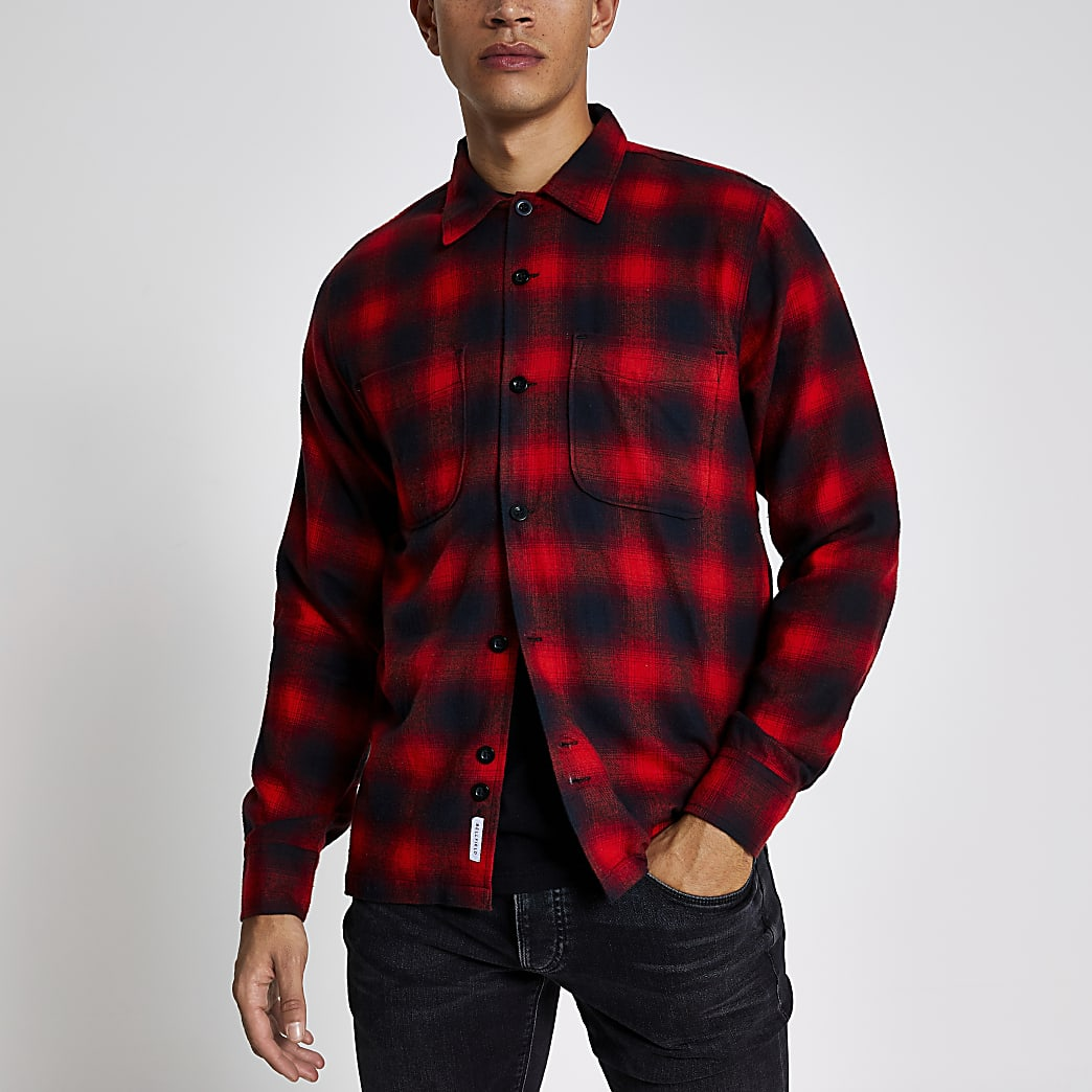 Bellfield red check long sleeve shirt