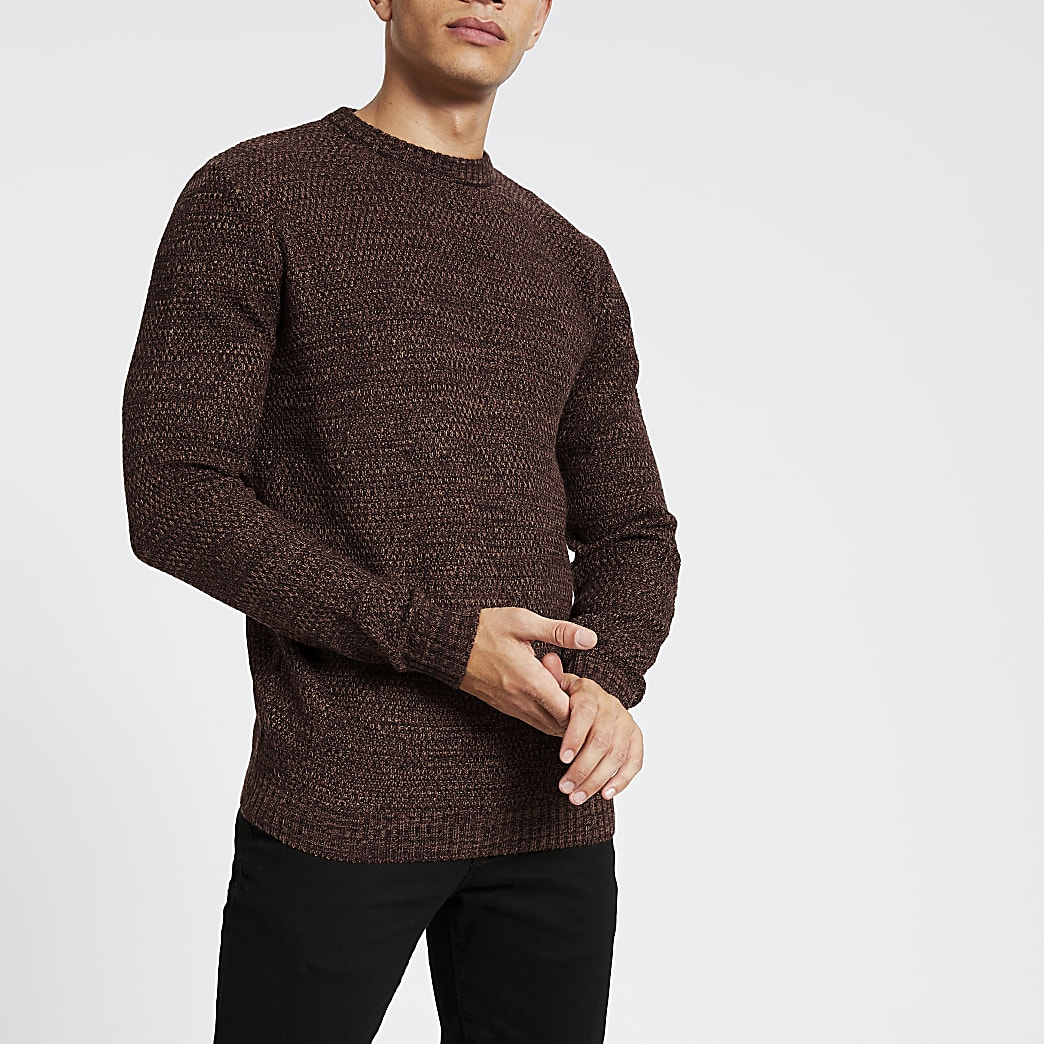 Bellfield brown textured knitted jumper