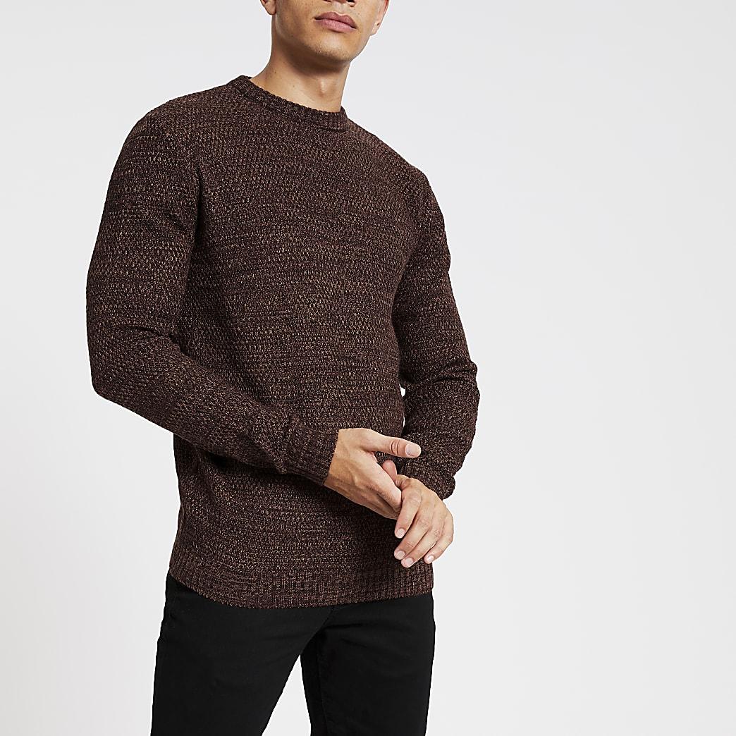 Bellfield - Bruine gebreide pullover met textuur