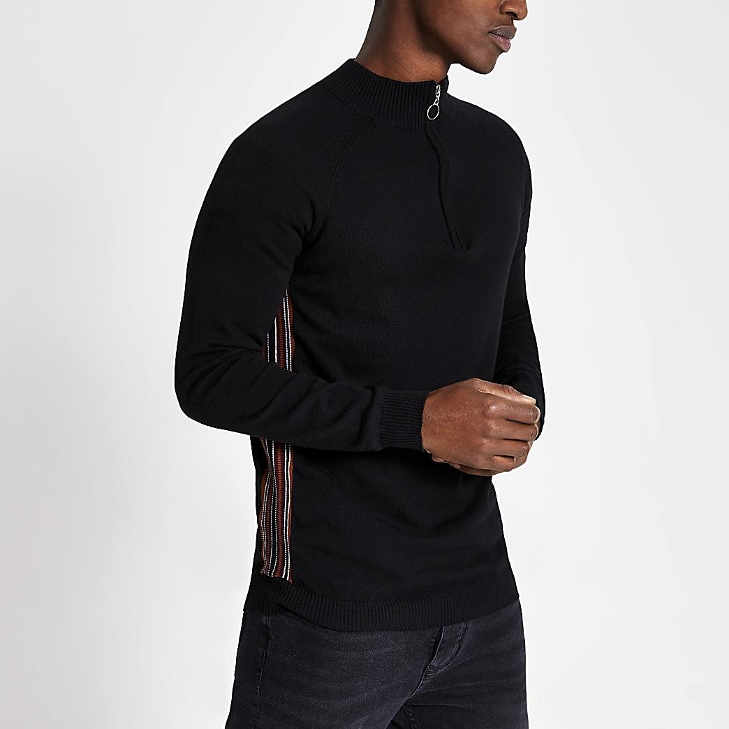 Bellfield navy half zip knitted top