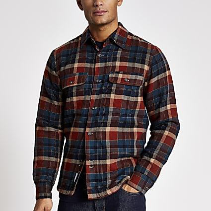 Bellfield navy check padded shirt
