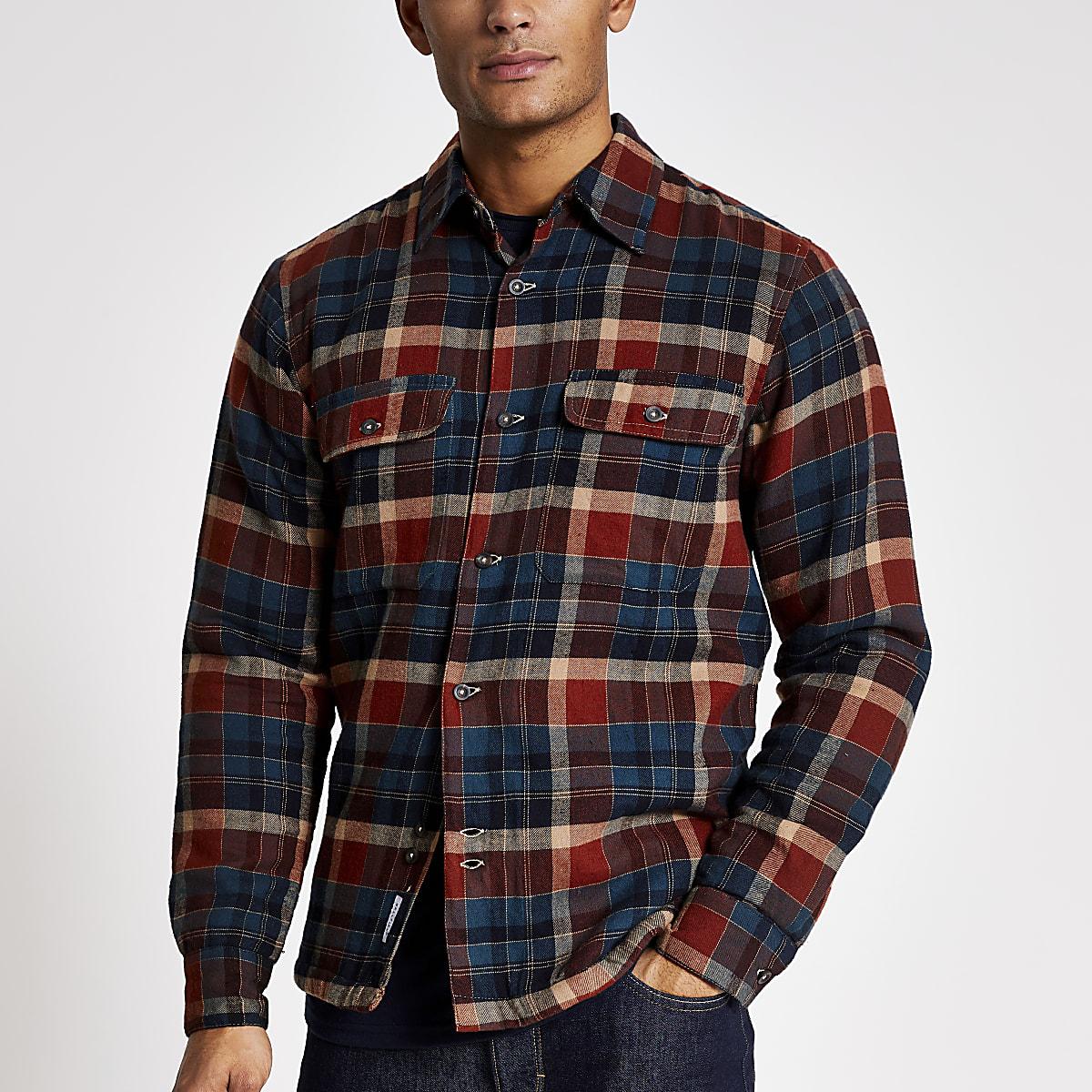 Bellfield - Marineblauw gewatteerd overhemd met ruiten