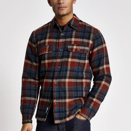 Bellfield navy check padded shirt