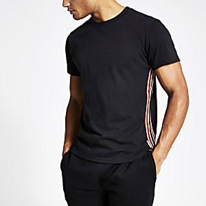 Bellfield – Schwarzes T-Shirt mit seitlichem Streifen