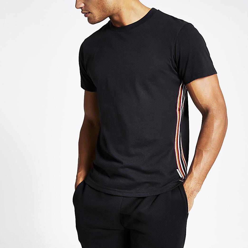 Bellfield - Zwart T-shirt met biezen aan zijkant
