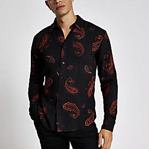 Bellfield - Zwart overhemd met paisley-print en lange mouwen