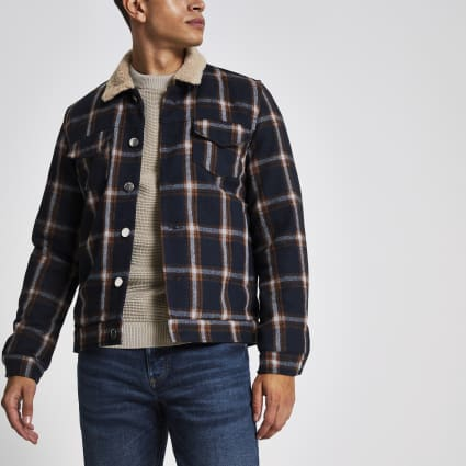 Bellfield navy check borg collar jacket