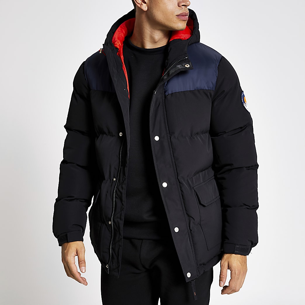 Bellfield black blocked padded puffer coat