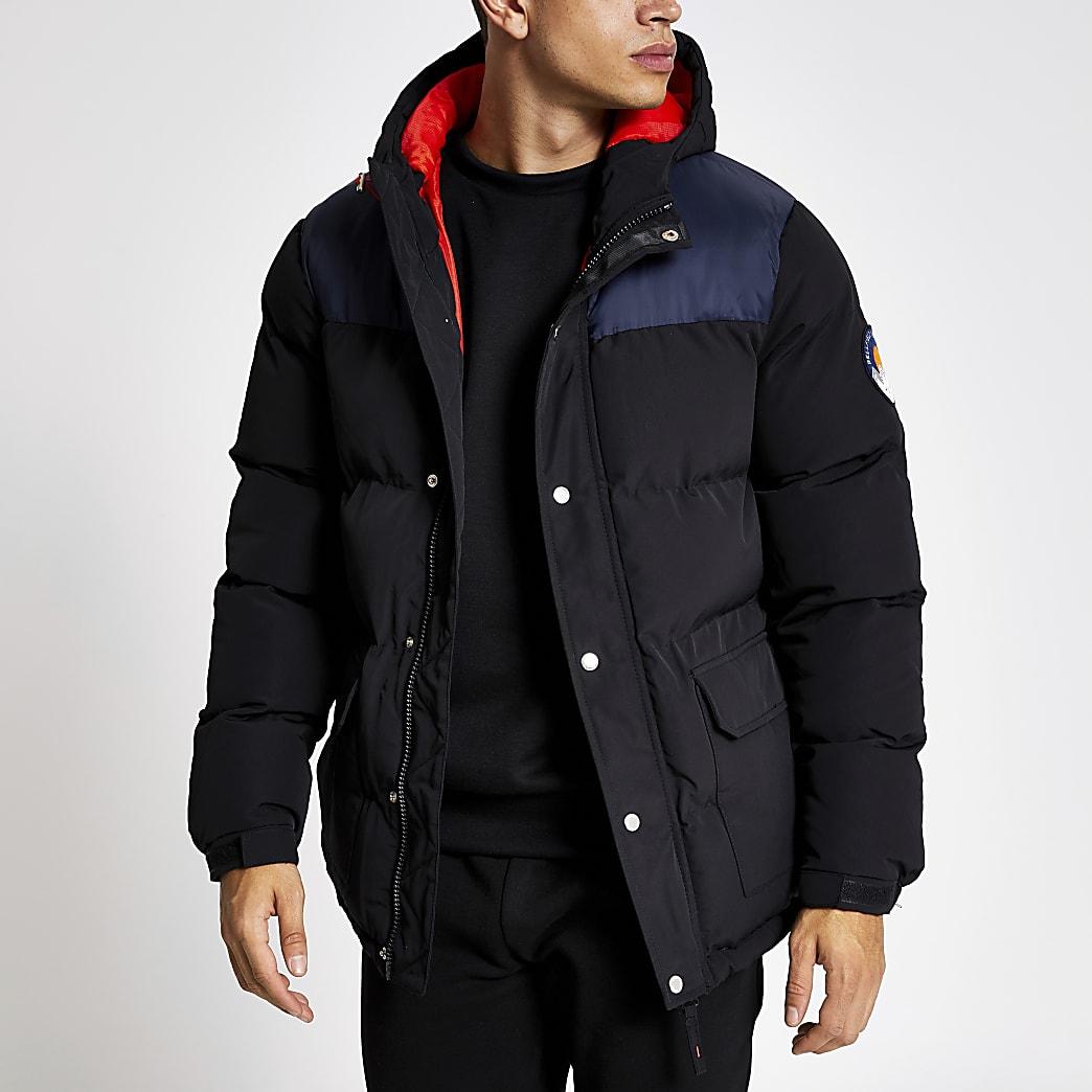Bellfield - Zwarte gewatteerde jas met kleurvlakken