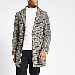 Bellfield -Manteau gris à carreaux boutonnésur le devant