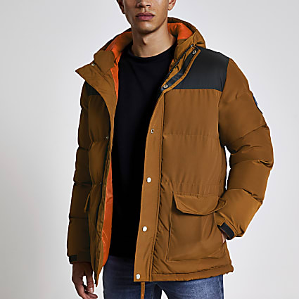 Bellfield brown blocked padded puffer coat