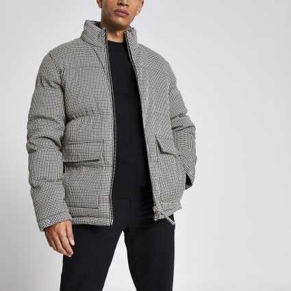 Bellfield black check puffer coat