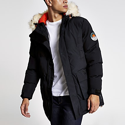 Bellfield navy padded faux fur hooded parka