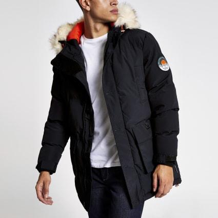 Bellfield navy padded faux fur hooded parka