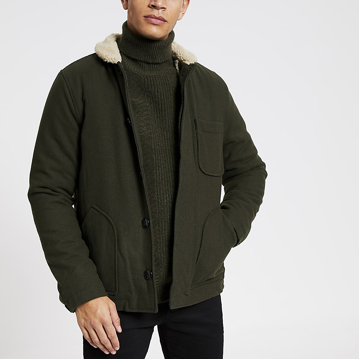 Bellfield khaki borg collar jacket