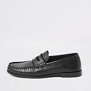 Black leather croc embossed loafers