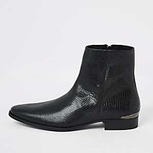 Black leather snake embossed pointed boot
