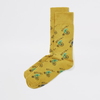 Yellow 'Rollin' frog print socks