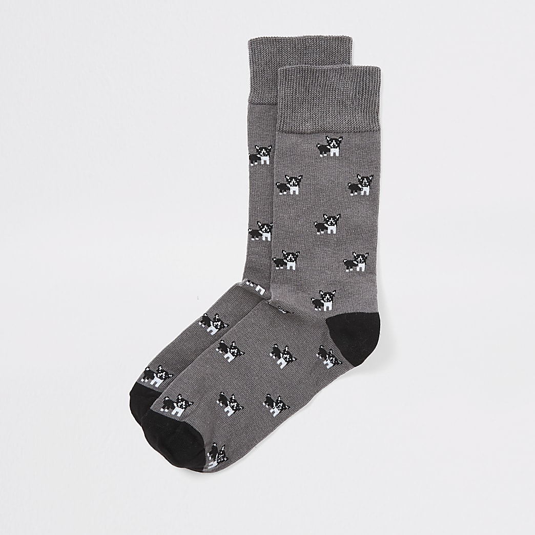 Grey dog print socks