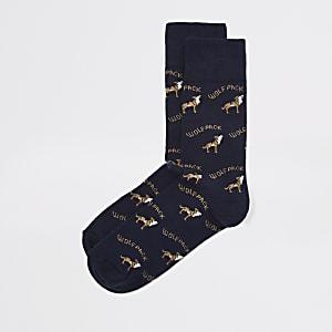Blauwe sokken met 'wolvenroedel'-print