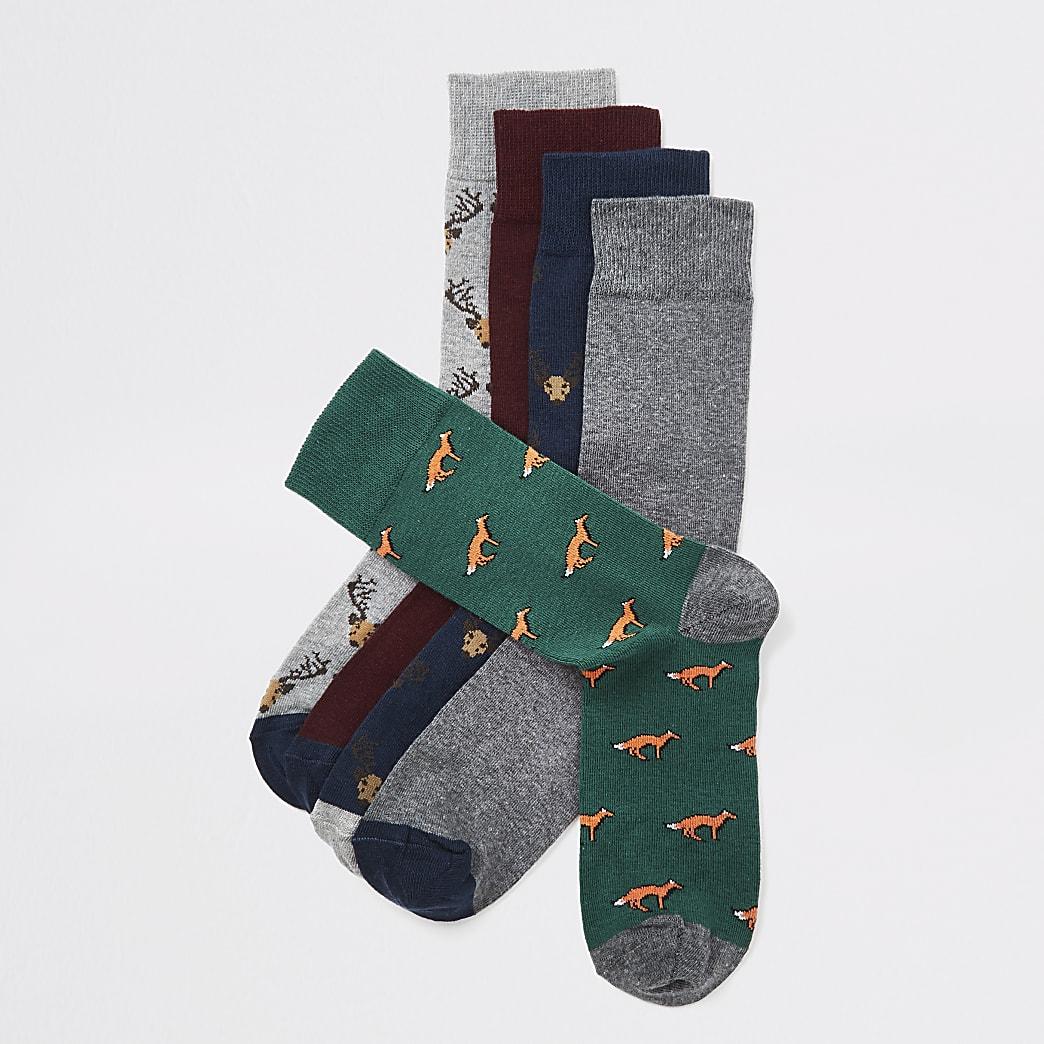 Set van 5 marineblauwe, hertenprint en vossenprint sokken