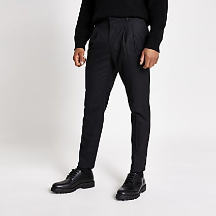 Black double pleated skinny tapered trousers
