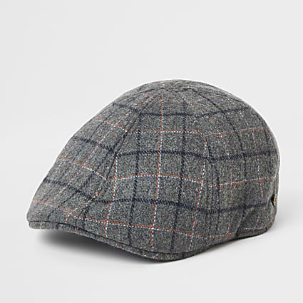 Grey check flat cap