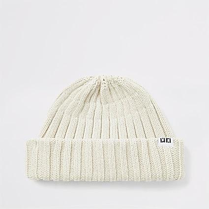 Ecru knitted RI beanie hat