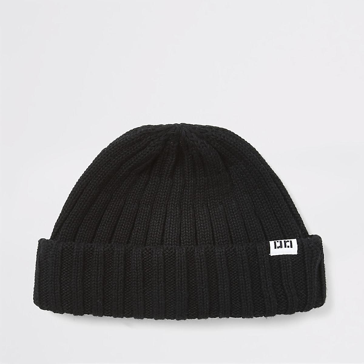 Black knitted RI beanie hat
