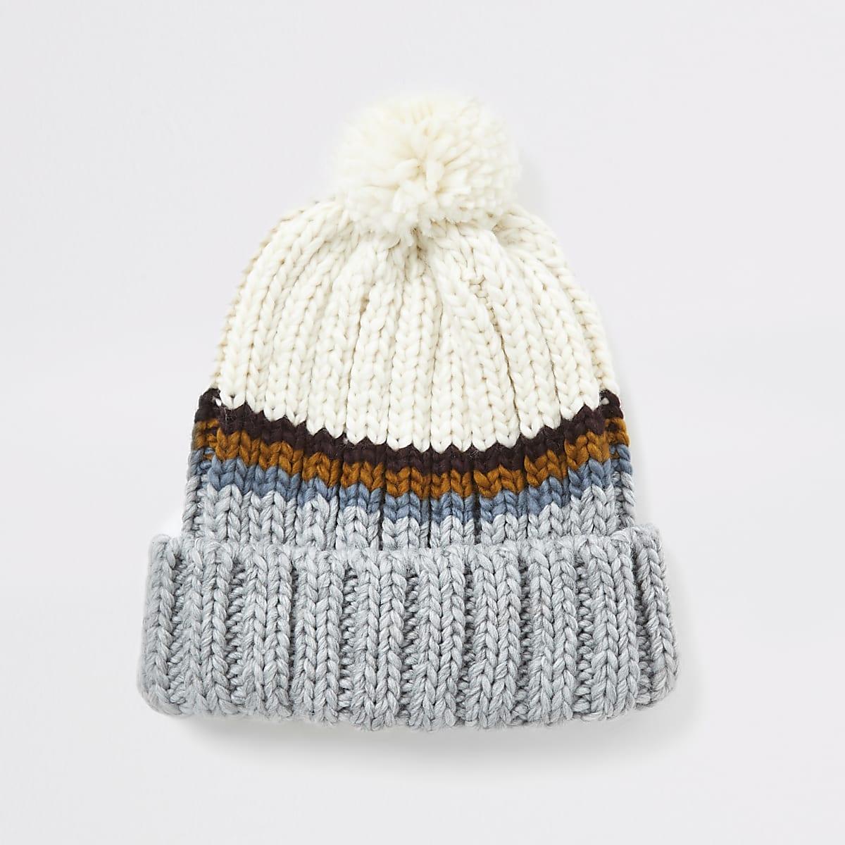 Grey stripe knitted beanie hat