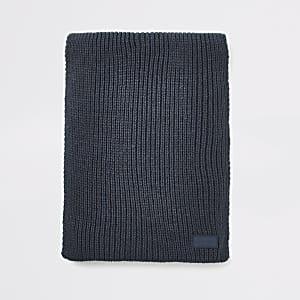 Prolific - Marineblauwe geribbelde gebreide sjaal