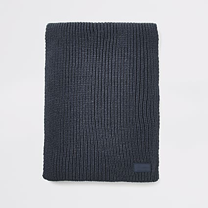 Navy Prolific rib knitted scarf