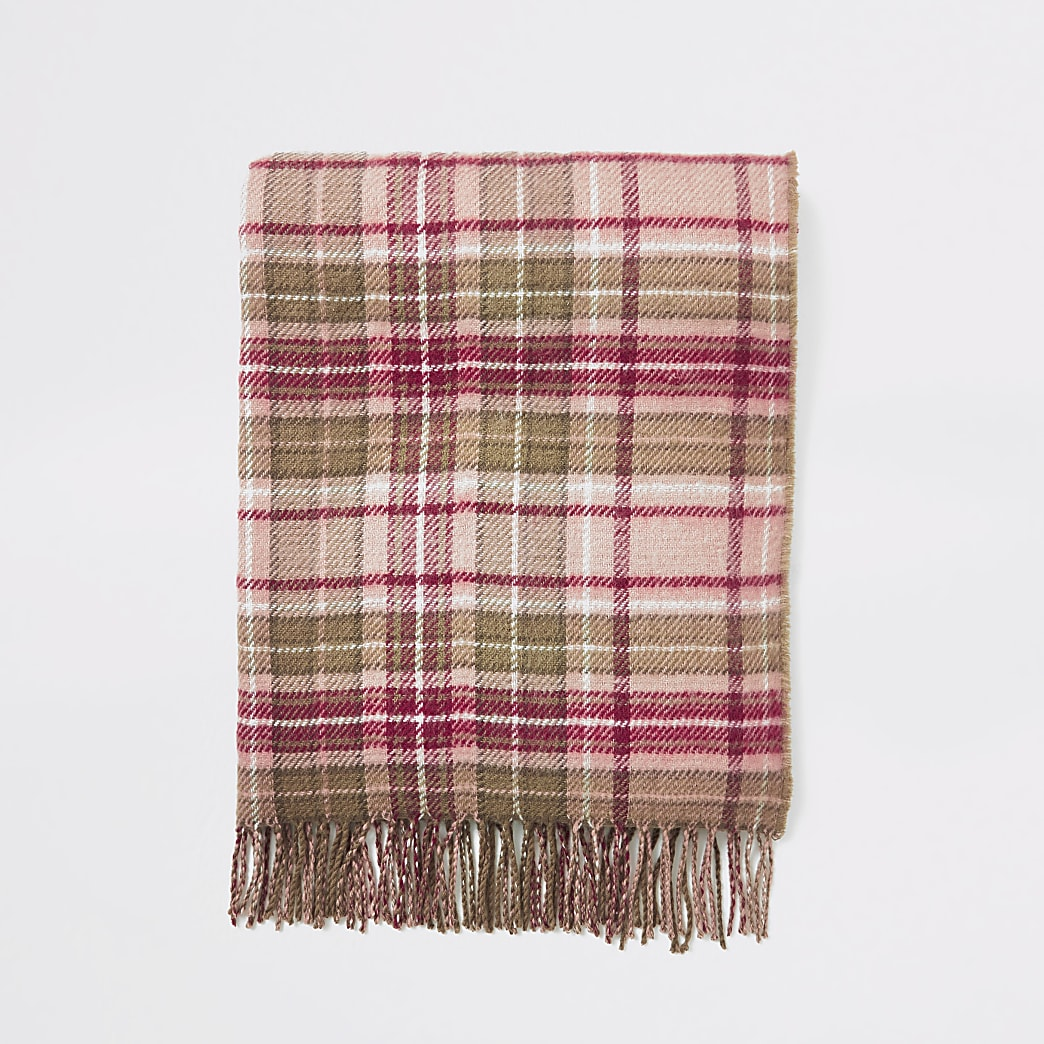 Pink check print tassel trim scarf