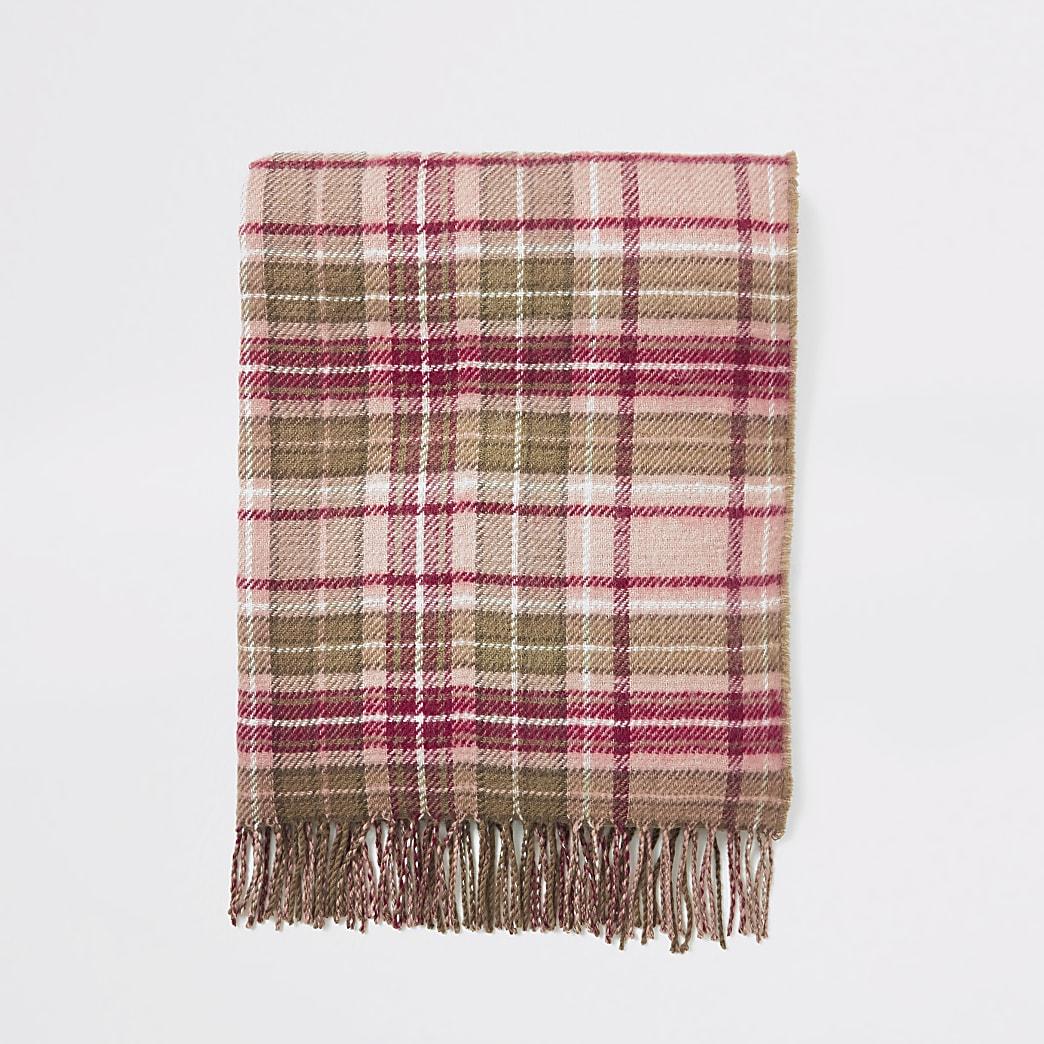 Écharpe à carreaux rose avec bordure à pampilles